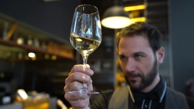 Wine steward looking at the color of a white wine in a glass while shaking it Wine steward looking very focused at the color of a white wine in a glass while shaking it winetasting stock videos & royalty-free footage