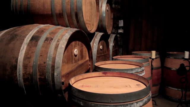 vídeos de stock e filmes b-roll de wine stored in wooden barrels in cellar indoors - barrica
