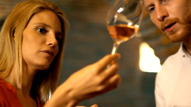 Wine tasting in a wine cellar. video