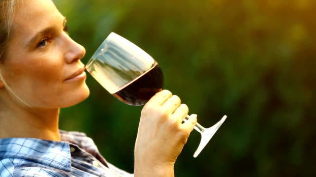 Wine tasting. Closeup side view of adult woman tasting a red wine in a vineyard on a summer afternoon. SHe's holding wineglass, gently swirling and then smelling the wine. Actual tasting comes last. Hand-held shot. red wine stock videos & royalty-free footage