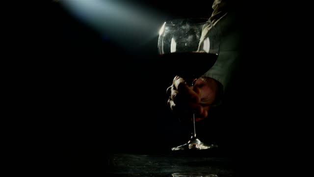 Wine waiter serving red wine in a large burgundy glass video