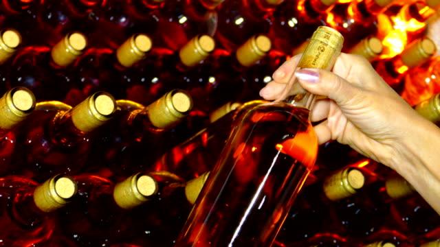 제조자는 와이너리의 지하실에서 와인을 검사 - 와인병 스톡 비디오 및 b-롤 화면