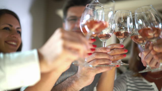 Winetasting and toasting. video