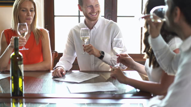Winetasting. Closeup front view of group of mid 30's people tasting wines. They are smelling the wines and visually analyzing before actually tasting. There are two men and two women, tasting and discussing about wines. 4k video. winetasting stock videos & royalty-free footage
