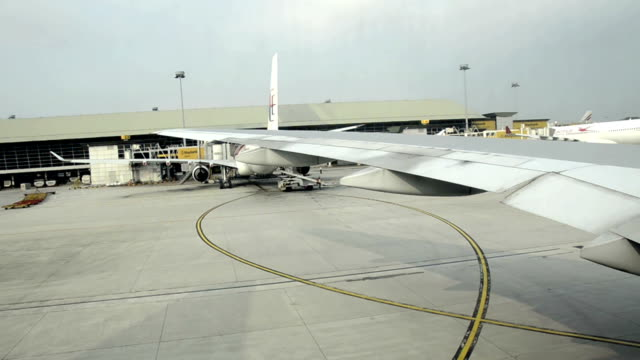 wing of airplane moving at Frankfurt airport video