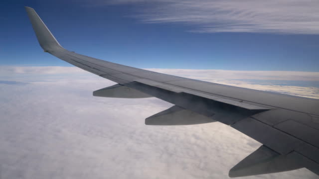 Wing of an airplane above the clouds video