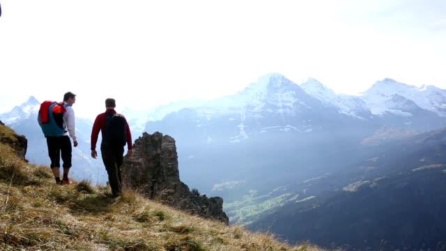 ala abito fliers/escursionisti passare attraverso prato di montagna - base jumping video stock e b–roll