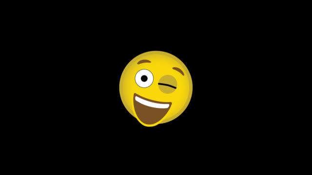 vídeos de stock e filmes b-roll de wink smiley face - stationary - piscar