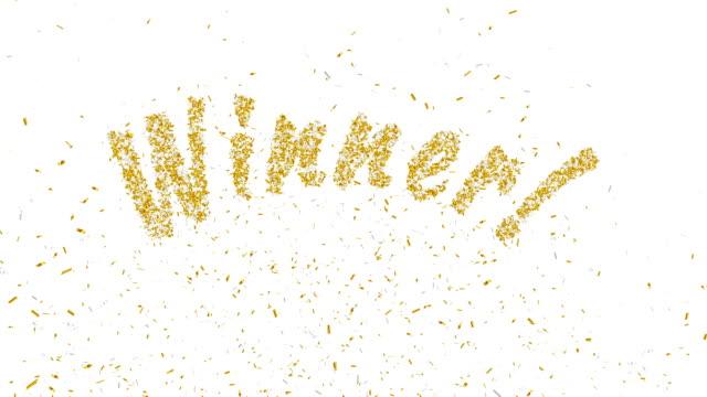 Winner! Gold confetti explosion.