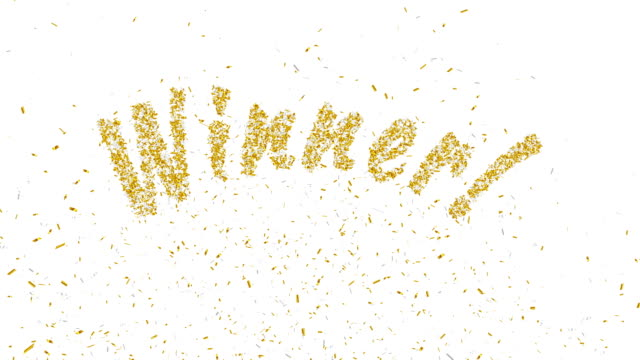 stockvideo's en b-roll-footage met winnaar! goud confetti explosie. - winnen