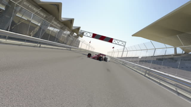 Winner Red F1 Sport Car Spins To Celebrate video