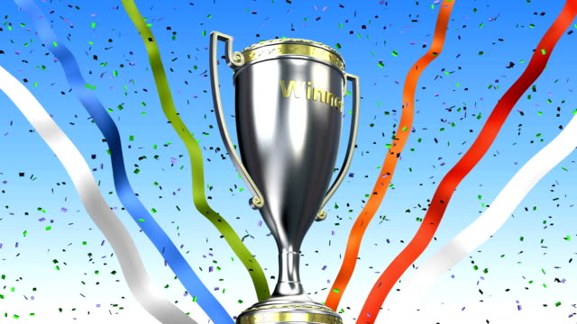 Winner trophy cup rotating with ribbons and confetti. 3D illustration render video