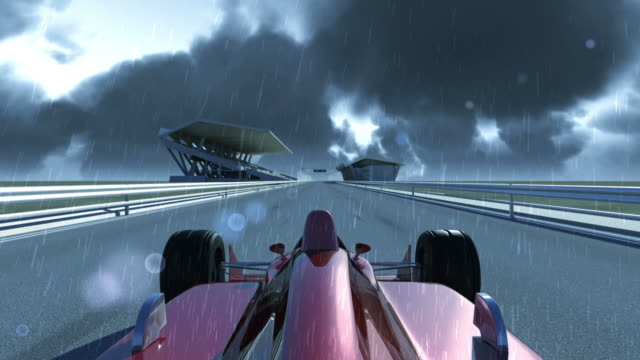 Winning Formula 1 Car On Rainy Day video