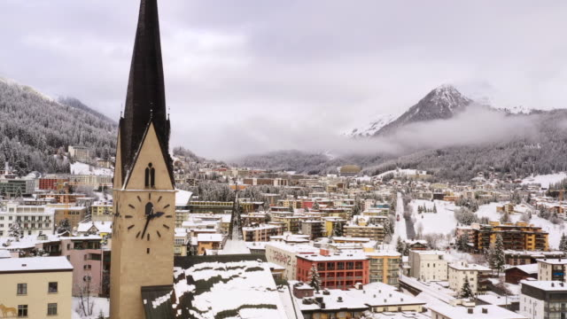 Winter Aerial view of the the city of Davos, home of the World Economic Forum every January, Switzerland.
