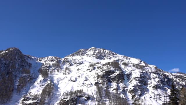 Winter Alps Landscape seen from Red Train Bernina Railway video