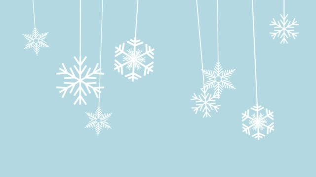 winterhintergrund, schnee am faden hängend. animation, flaches design - schneeflocken stock-videos und b-roll-filmmaterial