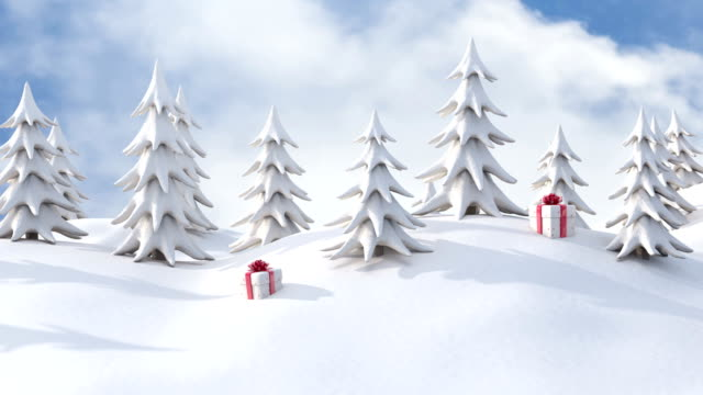Winter Christmas background, snowy pine trees and Christmas gift boxes