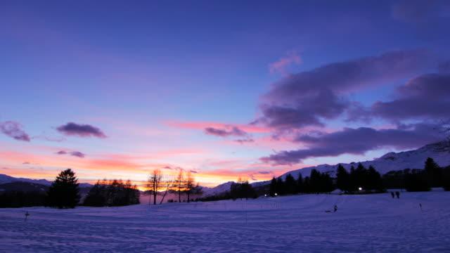 Winter Christmas sunset - timelapse video