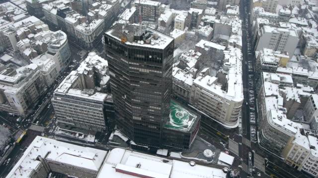 winter city aerial