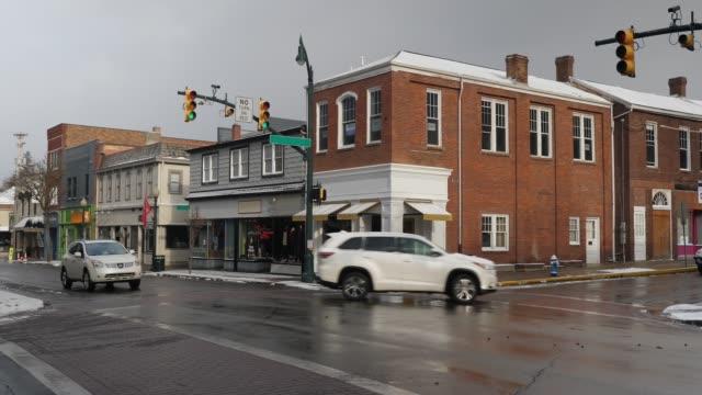 Winter Establishing Shot of Typical American Small Town Main Street