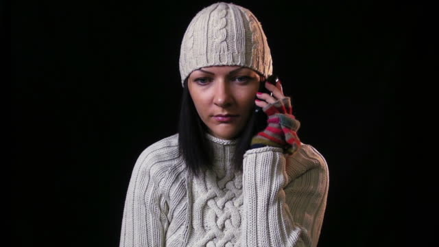 Winter girl with mobile video