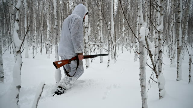 Winter hunter in the forest. video
