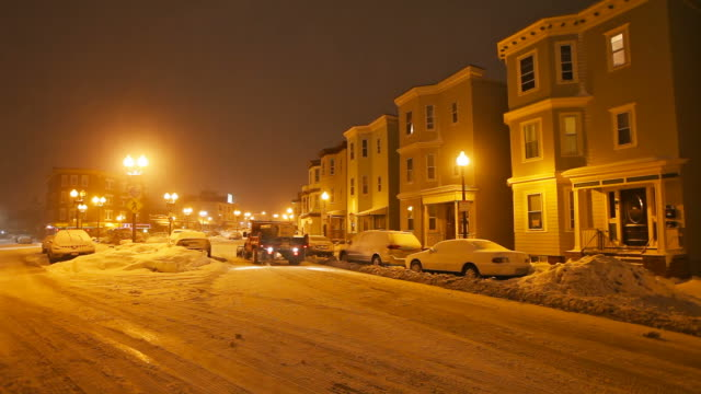 Winter in Boston Snowplowing the streets of East Boston plow stock videos & royalty-free footage