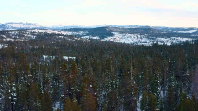 Winter in mountains. Aerial drone footage.