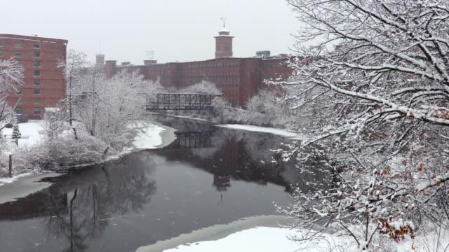 inverno a nashua, new hampshire - rivoluzione industriale video stock e b–roll