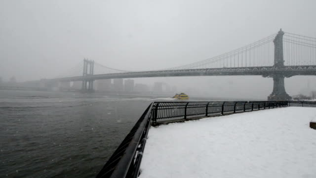 Winter in New York Manhattan bridge in blizzard,New York City suspension bridge stock videos & royalty-free footage
