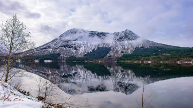 TIME LAPSE: Winter Landscape Snowy mountains. Lofoten Norway video
