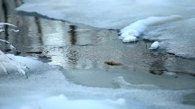 kış eritmek su küçük dere - akan su stok videoları ve detay görüntü çekimi
