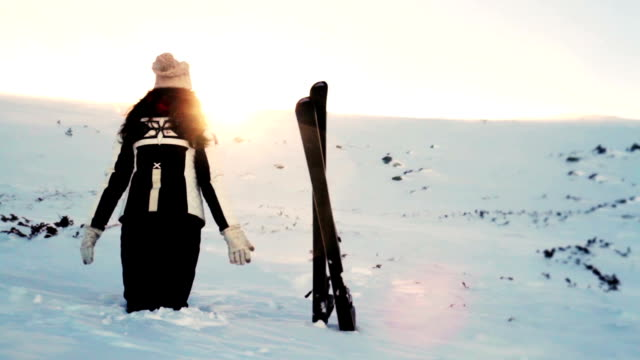 Winter Nature Mountain Woman Worship Pose Sun Flare video
