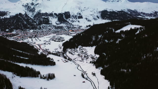 Winter panoramic view of the mountains of the city of  Davos, home of the World Economic Forum every January, Switzerland.