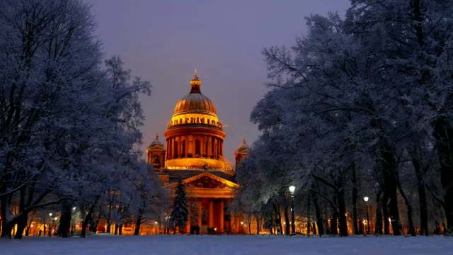 Winter park, Saint Isaac's Cathedral, evening to night time lapse shot video