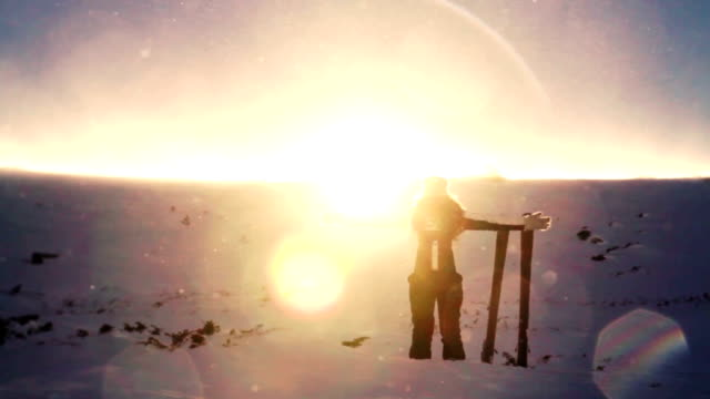 Winter Praise Worship Pose Woman Enjoying Mountain Beauty video