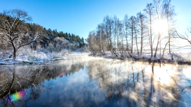 Winter river landscape video