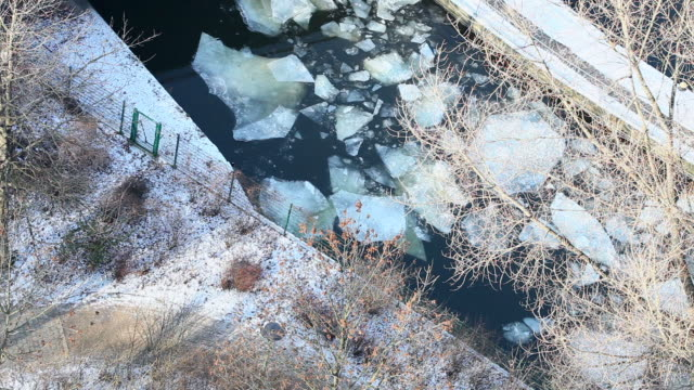 winter - river with ice and snow video