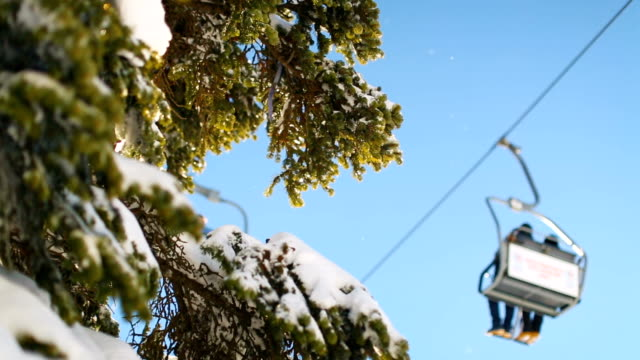 Winter scene. Sunbeams hitting the lens through snowy pine branches while ski lift passes at the background