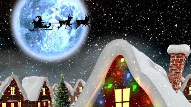 밤의 겨울 풍경 - christmas decorations 스톡 비디오 및 b-롤 화면