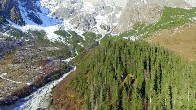 winter snow landscape. aerial view. Austria, mountain. video