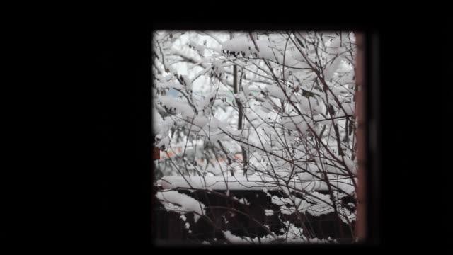 winter snow window hd footage - davanzale video stock e b–roll