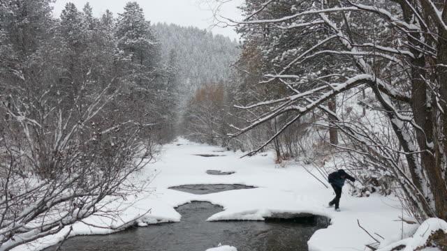 冬天的雪鞋人增雪熊河常綠科羅拉多 - 州立公園 個影片檔及 b 捲影像
