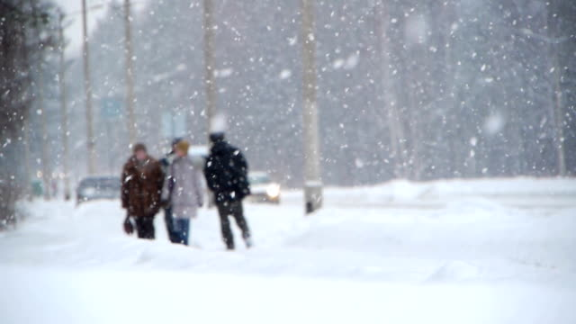 Winter street with people Heavy snow at a winter street siberia stock videos & royalty-free footage