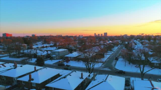Winter sunrise over an urban area