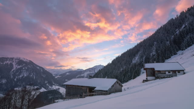 Winter time lapse of a sunset in Austrian Alps video