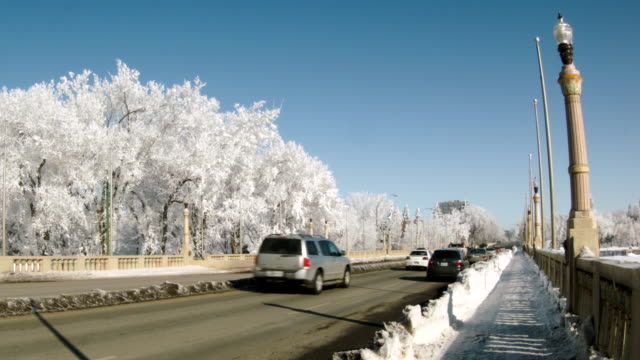 Winter traffic on bridge with frost-covered trees video