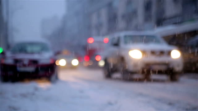 winter traffic video