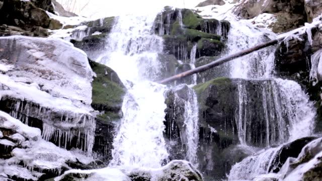 Winter waterfall. Carpathians Ukraine video