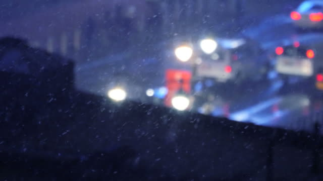 Wintertime in Snow-Covered Environment. Blizzard and Snow Storm in a Large City. video